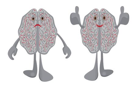 Brain affected with a stress and healthy optimistic brain vector illustration symbolizing education isolated on a white background