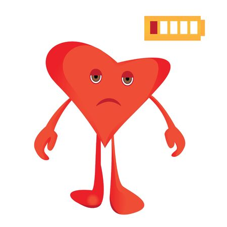A heart under stress. Unhealthy feeling vector illustration in cartoon style isolated on a white background
