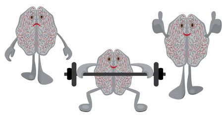 Brain affected with a stress, brains having exercises with a barbell and healthy trained brain symbolizing education  training intellect exercises  vector illustration isolated on a white background