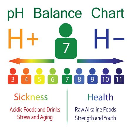 pH level Ballance Chart  scale showing sickness and health in human body vector infographics 写真素材 - 131986437