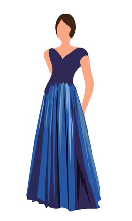 A girl in an evening dress vector illustration on a white background 写真素材 - 132352538