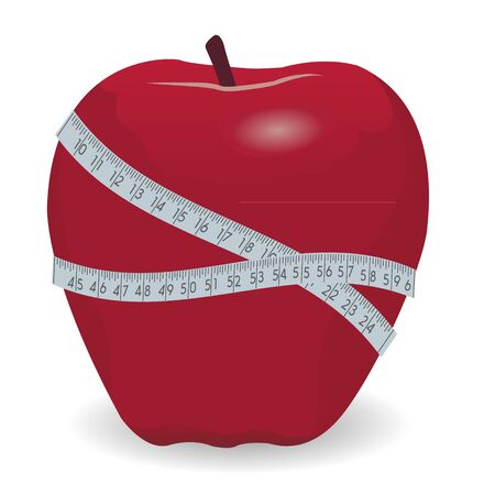 Red apple with tape measure vector illustration isolated on a white background Illusztráció