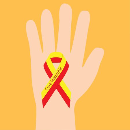 Hepatitis ribbon in a hand  support awarness association vector illustration  イラスト・ベクター素材