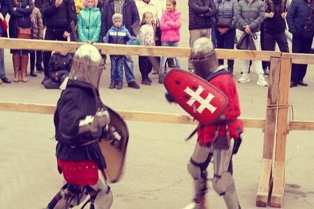 Knight Tournament in Dnipro city on 14.10.19, Ukraine. Historical fencing competition contest