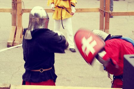 Knight Tournament in Dnipro city on 14.10.19, Ukraine. Historical fencing competition contest. reproduction of a sword battle