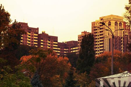 City landscape in Dnipro city in autumn. Panorama from a park 写真素材 - 133184809