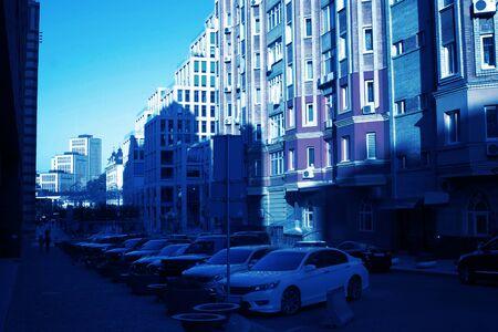 Central area in Dnipro city, Ukraine. City landscape