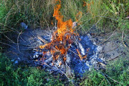 Campfire on a grass in summer day