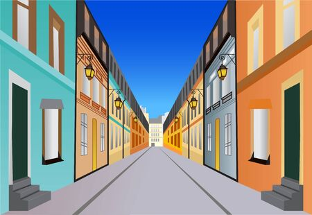 Street with buildings on both sides of  a road vector illustration for colorful graphic design or wall art  イラスト・ベクター素材