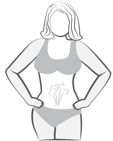 Bloating and excess gas in stomach or intestine vector illustration  イラスト・ベクター素材
