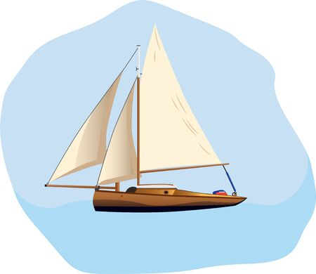 Boat sailing in a sea vector illustration on a white background  イラスト・ベクター素材