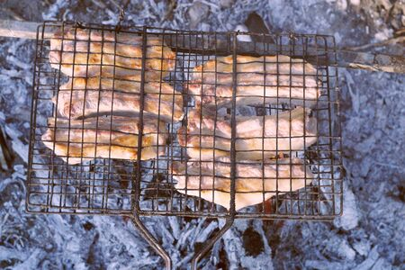 Barbeque from pork prepared outdoors on a hot summer day in a camp 写真素材