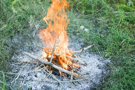 Campfire on a grass in hot summer day