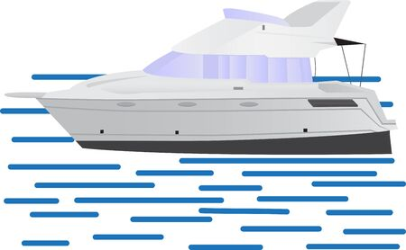 Boat illustrated in a cartoon style sailing in the sea vector illustration on a white background