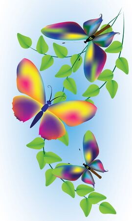 Butterflies and branches with leaves vector illustration for graphic design in  post cards, invitation cards and etc