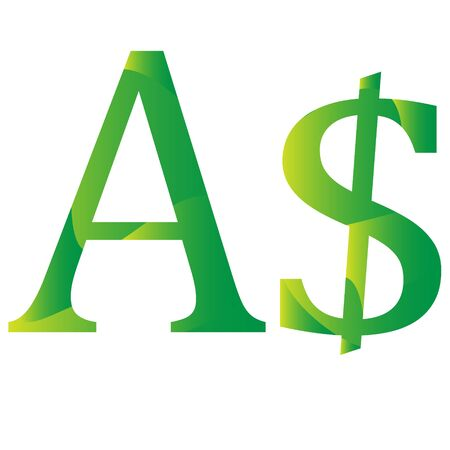 Dollar Australia currency symbol icon vector illustration on a white background