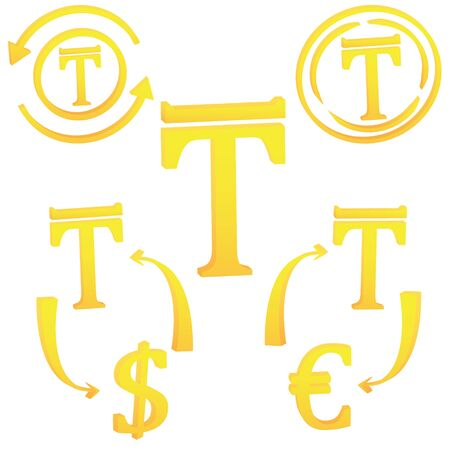 Kazakh Tenge currency symbol icon of Kazakhstan vector illustration on a white background 일러스트
