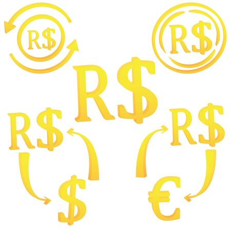 Real Brazilian 3D currency symbol vector illustration on a white background Stock fotó - 145455149