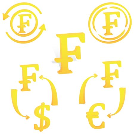 3D French Frank currency symbol icon of France vector illustration on a white background  イラスト・ベクター素材