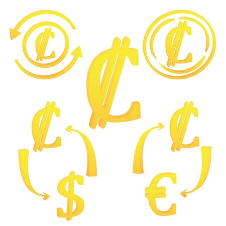 3D Costa Rica currency symbol icon vector illustration on a white background