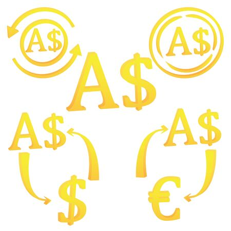 3D Australian dollar currency symbol icon of Australia vector illustration on a white background