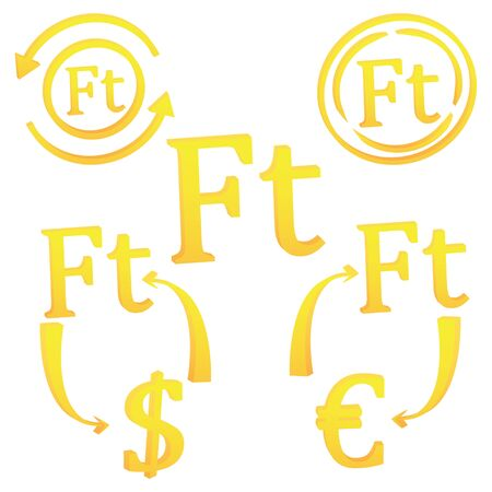 3D Hungarian Forint currency symbol icon of Hungary vector illustration on a white background  イラスト・ベクター素材