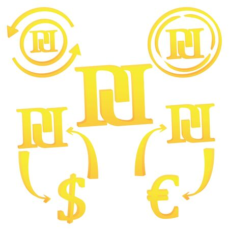 3D Israeli New Sheqel currency symbol icon of Israel vector illustration on a white background