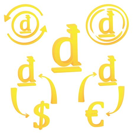 3D Vietnamese Dong currency symbol icon of Vietnam vector illustration on a white background  イラスト・ベクター素材