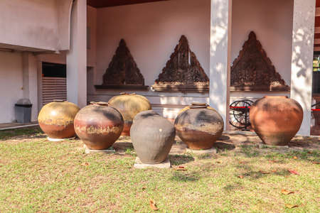 Old Clay pots for food that are in bhuddist temple in Thailand