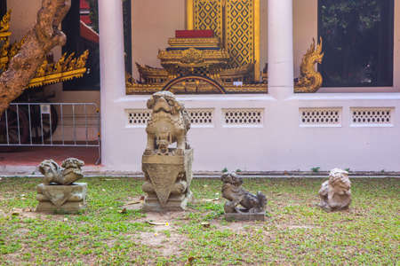 Statues of Temple Guardian Dog in Thailand. Handcrafted and painted. .Blessings and Protection symbol.