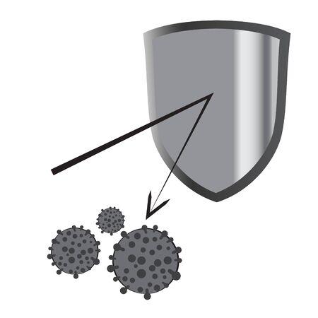 Antivirus shield vector illustration on a white background isolated Ilustración de vector