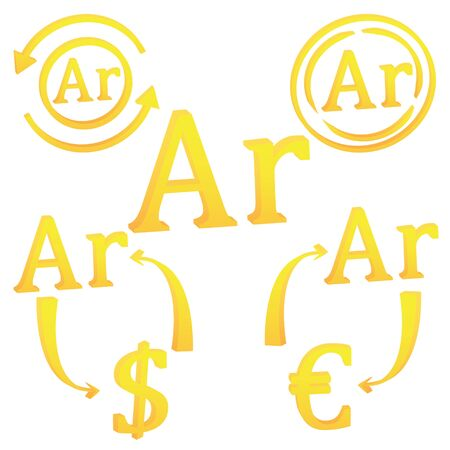 3D Malagasy Ariary of Madagascar set of currency symbol icon vector illustration on a white background  イラスト・ベクター素材
