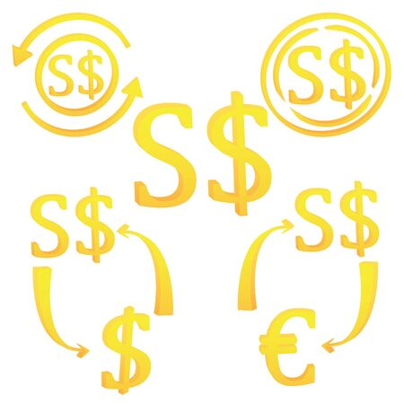 3D Singapore dollar currency symbol. set of icon vector illustration on a white background  イラスト・ベクター素材