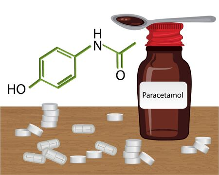 Paracetamol liquid and drugs vector illustration