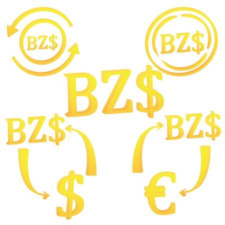 3D Belizean dollar symbol icon of Beliz vector illustration on a white background