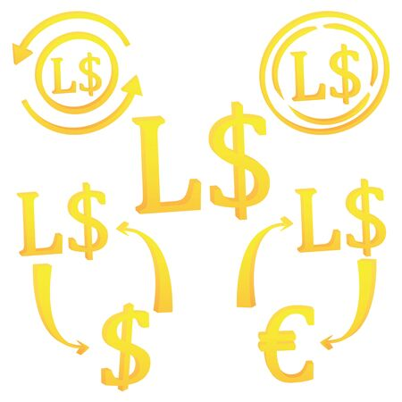 3D Liberian dollar set of currency symbol icon of Liberia vector illustration on a white background