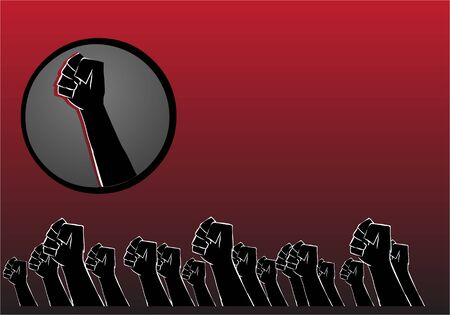 protest concept hands background vector illustration