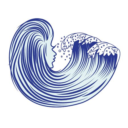 Cartoon sea wave vector illustration on a white background  イラスト・ベクター素材