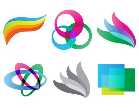 Set of Geometric colored shaped  isolated vector illustration
