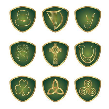 Set of Irish stickers outline vector illustration isolated  イラスト・ベクター素材