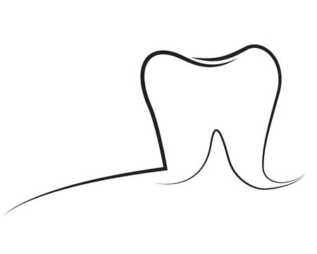Tooth outline vector illustration isolated on a white backgroundTooth outline