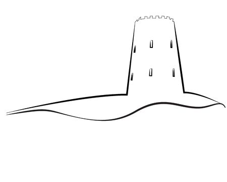 Tower outline vector illustration on a white background isolated