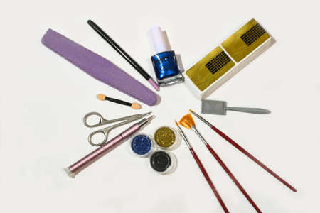 Tools for creating manicure, and nails design, the concept of beauty, nails care. Salon Banner on the White Background