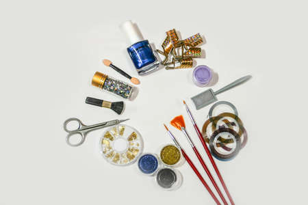 Tools for creating manicure, gel polishes, and all for the creating nails design, the concept of beauty, nails care. Salon Banner on the White Background Stock fotó