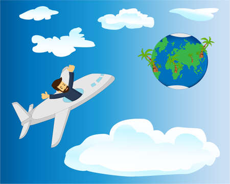 A traveller flying in a plane to the Earth planet vect5or illustration. Global travelling concept 일러스트