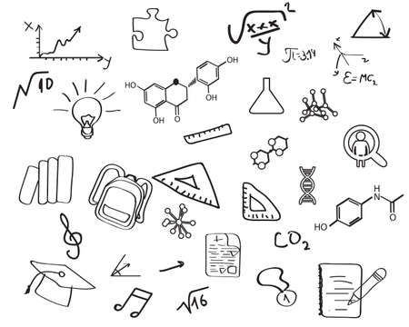 Set of education concept icons in hand draw style vector 일러스트