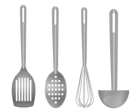 Cooking tools set isolated monochrome vector illustration 일러스트