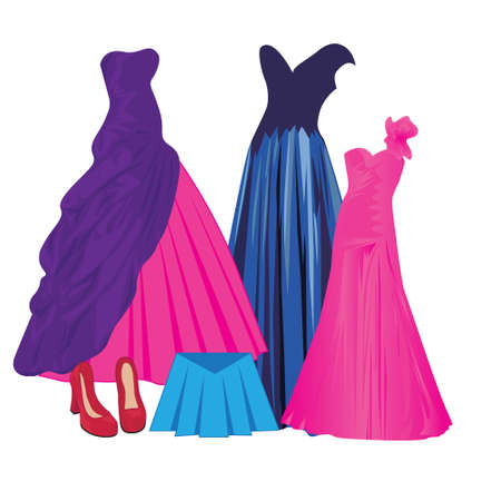 Evening dresses for young women collection for evening partyvector illustration