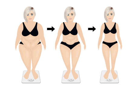 Fat and slim girl before and after dieting or weight loss exercising. good workout result the concept vector illustration