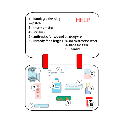 emergency kit: First aid kit box with medical equipment and medications for emergency, objects top view